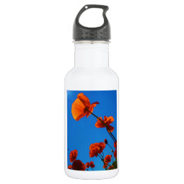 Orange Poppy Photo Water Bottle