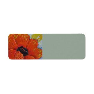 Orange Poppy Return address Label