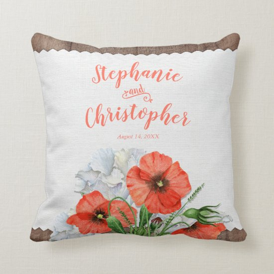 Orange Poppy Rustic Floral Wedding Pillow