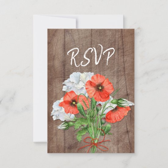 Orange Poppy Rustic Wood Floral Wedding RSVP