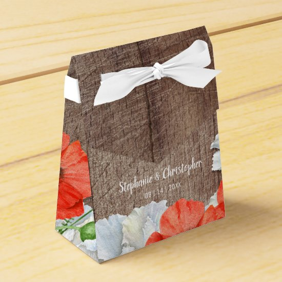 Orange Poppy Rustic Wood Flower Favor Box