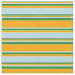 [ Thumbnail: Orange, Powder Blue & Forest Green Colored Lines Fabric ]