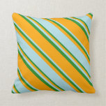 [ Thumbnail: Orange, Powder Blue & Forest Green Colored Lines Throw Pillow ]