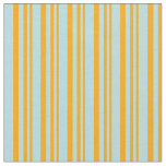 [ Thumbnail: Orange & Powder Blue Lined Pattern Fabric ]