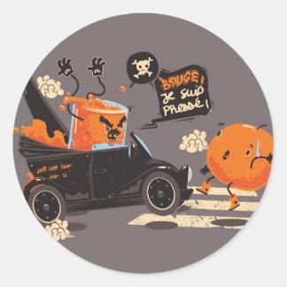 Orange pressée round stickers