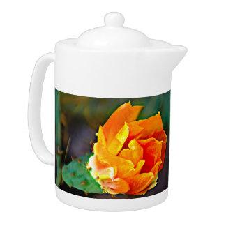 Orange Prickly Pear Cactus Bloom Tea Pot