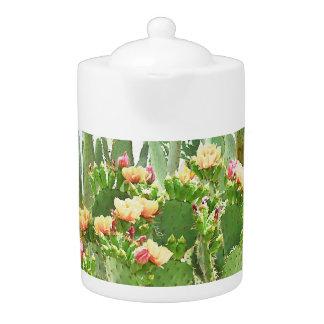 Orange Prickly Pear Cactus Blooms Tea Pot