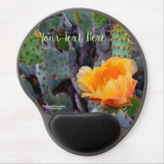Orange prickly pear opuntia cactus blossom photo gel mouse pad