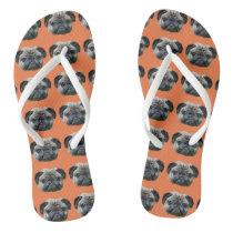 Orange pug dog flip flops