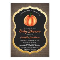 Orange Pumpkin Burlap | Baby Shower Invitation
