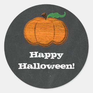 Orange Pumpkin Chalkboard Halloween Favor Classic Round Sticker