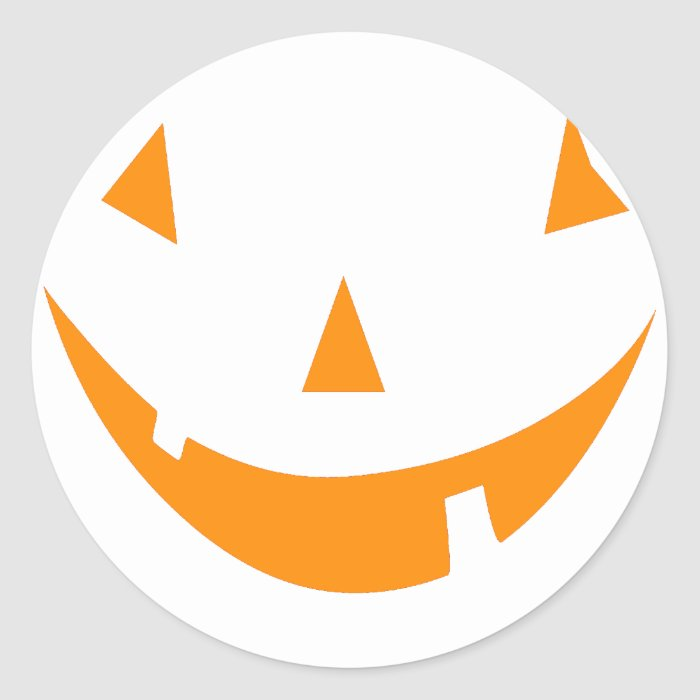 Orange Pumpkin Face Classic Round Sticker