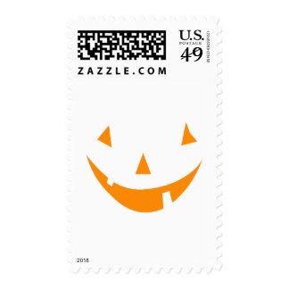 Orange Pumpkin Face Postage Stamp