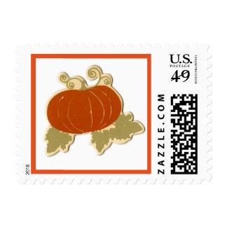 Orange Pumpkin Fall Thanksgiving Postage Stamp