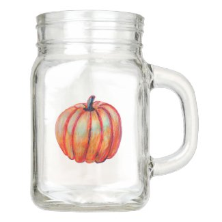 Orange Pumpkin Mason Jar