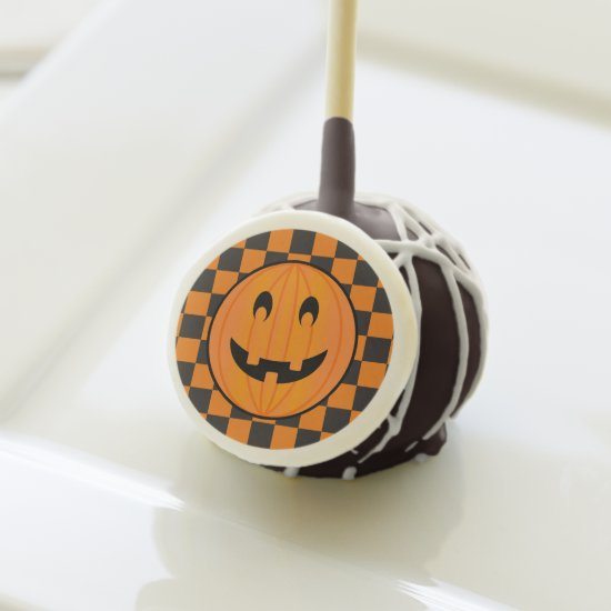 Orange Pumpkin on Halloween Checks Cake-Pop Cake Pops