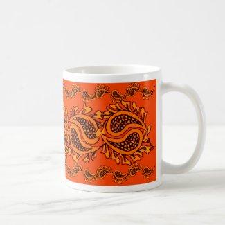 Orange Pumpkin Paisley Halloween Coffee Mug / Cup Mug