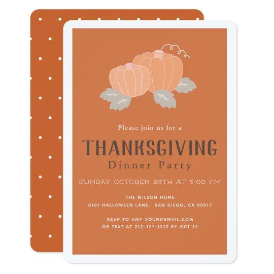 Orange Pumpkin Thanksgiving Dinner Invitation