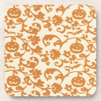 Orange Pumpkin Vines Cork Coaster