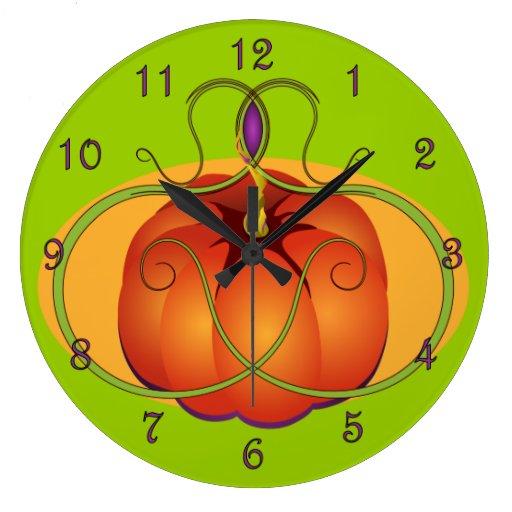 Orange Pumpkin with Curvilinear Accents Round Wallclocks