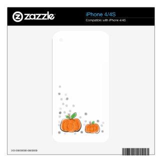Orange Pumpkins and Polka Dots Watercolor Sketch iPhone 4 Decal