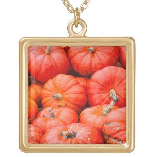 Orange pumpkins at market, Germany Gold Plated Necklace