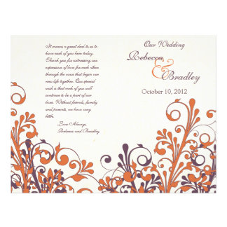 "Orange Purple Abstract Fall Floral Wedding Program 8.5"" X 11"" Flyer"