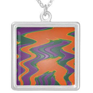 orange purple abstract square pendant necklace