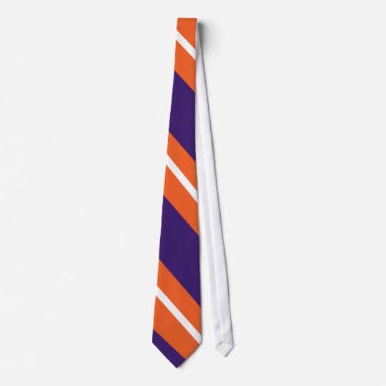 Orange, Purple, and White Diagonal-Striped Tie