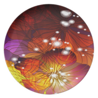 Orange, Purple and Yellow Flowers Plate