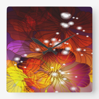 Orange, Purple and Yellow Flowers Square Wall Clock