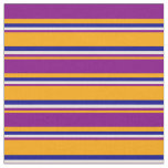 [ Thumbnail: Orange, Purple, Beige, and Dark Blue Stripes Fabric ]