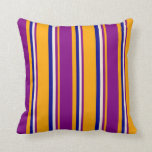 [ Thumbnail: Orange, Purple, Beige, and Dark Blue Stripes Throw Pillow ]