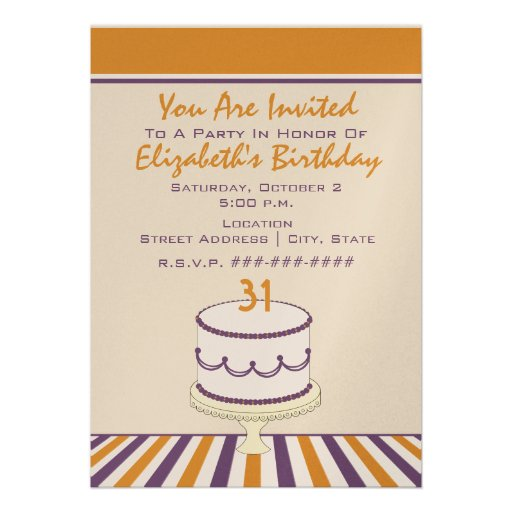 Orange & Purple Birthday Cake / Birthday Party Custom Invites