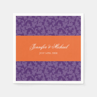 Orange Purple Damask Swirl Wedding Personalized Napkin