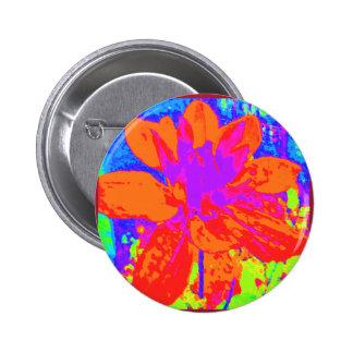 Orange & Purple Floral Dahlia Flower Pattern Pinback Button