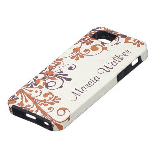 Orange Purple Floral Personalized iPhone 5 Case
