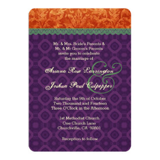 Orange Purple Green Damask Wedding V10 Personalized Announcements