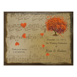 Orange & Purple Heart Leaf Tree Wedding Program
