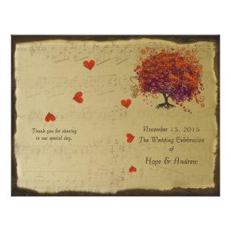Orange & Purple Heart Leaf Tree Wedding Program