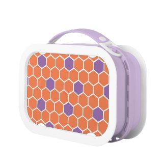 Orange & Purple Honeycomb Pattern Lunchbox