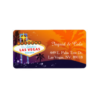 Orange Purple Las Vegas Wedding Label