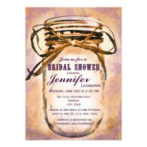 Orange Purple Mason Jar Bridal Shower Invitations
