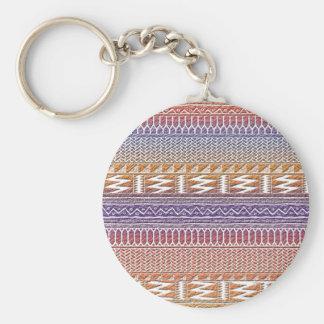 Orange Purple Ombre Geo Aztec Tribal Print Pattern Keychain