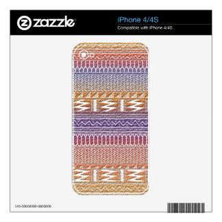 Orange Purple Ombre Geo Aztec Tribal Print Pattern Skin For iPhone 4