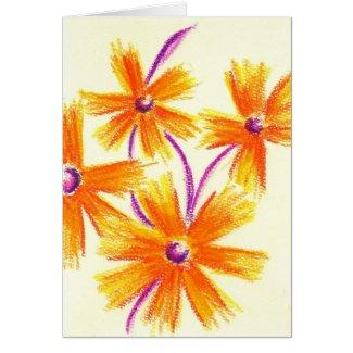 Orange Purple Pastel Flowers Card