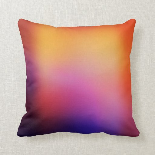 Orange Purple Pink and Yellow Abstract Glow Modern Pillow