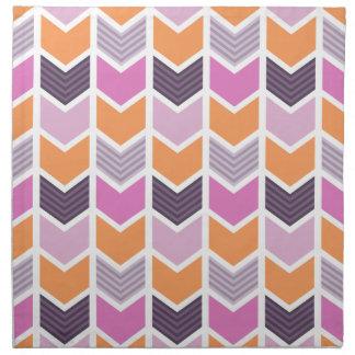 Orange Purple Pink Geometric Chevron Pattern Printed Napkins