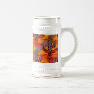 Orange Purple Southwestern Saguaro Cactus Mosaic Beer Stein
