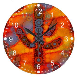 Orange Purple Southwestern Saguaro Cactus Mosaic Large Clock